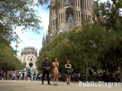 Barcelona is a city of dick shaped buildings. Mona Wales takes a Public Disgrace favorite, Carolina Abril, on a pilgrimage to worship huge cock at the base of these large phallic buildings. Mona begins her humiliation of Carolina by having her slide her white cotton panties off, exposing her bald cunt to a crowd of construction workers. Mona, unsatisfied with her subjects faith in cock takes her to a church where Carolina gets on her knees and prays to be penetrated as she is completely surrounded by excited onlookers. Carolina gets her prayers answered in a local salon where she gets repeatedly fucked as she is grabbed, slapped and fucked by a cheering crowd.video