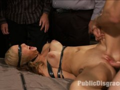 Dallas Blaze is a member of Public Disgrace who has long dreamed of modeling for the site! Tonight this 20 year old cutie gets her chance to fulfill her dream of being tied up and fucked at the armory while strangers watch and feel her up!video