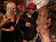 Allie James is a gorgeous little blonde with perky tits and a firm round ass. Lorelei Lee ties up this cute girl and drags her to a bar where she is fisted, fucked, slapped, spit on, disgraced, and fondled by strangers.video