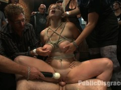 Big tittied ginger fucked in the ass in front of a horny crowd!video