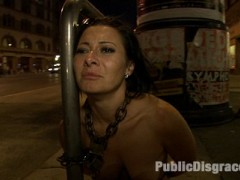 The one, the only, Sandra Romain submits herself to public humiliation! This is the only place on the net where you can see this world famous dom brought to her knees IN PUBLIC. See the tables turned on this fierce dominatrix as James Deen puts her through her paces with public flogging, anal sex, and bondage!video