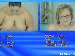 Jitka & Diana wrestling 2 BBWs fight for a plastic cock & then for a real onevideo