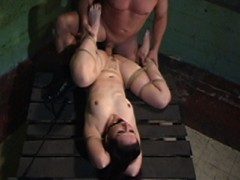 It doesn't take much to make Caroline cry. She admits it happens easily and is a very erotic release for her when bound and dominated. The session begins with a couple of super hard suspensions. Brutal nipple punishment make Caroline beg for mercy and after a hard orgasm Brandon flips her upside down and fucks her throat in what becomes one of the sexiest bondage 69's we have ever seen! Firm spanking and flogging turn Caroline's ass red in no time! In a missionary tie Brandon fucks Caroline's pussy raw, slapping her tits and face while thrusting. Caroline goes from begging for mercy to begging to be permitted to orgasm many times in this BDSM game. Later, in a strappado Brandon administers the cane on her huge ass making it hot. More bondage sex has Caroline exhausted and begging for cum on her face. She is given her request and swallows every last drop like a good sex slave!video