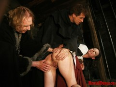 "Slim brunette Mathilda\\'s next ""John"" she flirts with turns out to be a dungeon Master and he arrests her for punishment. She must endure imprisonment, BDSM fun, gang bang, extreme spanking, slapping, fingering, breast, nipple and pussy torment.video"