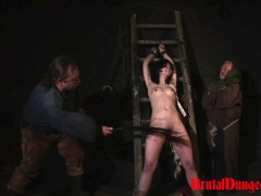 Brunette Loredana Imprisoned for BDSM Gang Bang Brunette gypsy Loredana has been arrested for suspicious activity in her apartment and punished in our dungeon every week. She will do anything to earn a pardon, even endure imprisonment, bondage with leather cuffs and chains, domination, BDSM fun, gang bang, flogging, ass spanking, slapping, fingering, breast, nipple and pussy torment.video