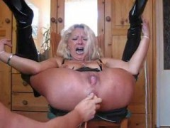 Slut tied up and gets bunghole stuffed Wild BDSM slut gets tied up and enjoys having her nasty bunghole stuffed with a dildovideo