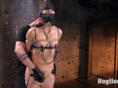 We begin with Bianca standing. Her head is wrapped to give her some sensory deprivation before the suffering begins. Clamps are applied to her sensitive nipples and pulled on to keep this slut screaming and then the orgasms begin. We spend the rest of the day tormenting the hell out of this slut all while tied in rope bondage. By the end of the day she has orgasmed so many times that she begs for even that to stop.video