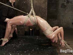 Tough as nails Amber Rayne gets another extremely challenging suspension in part 2 of her live show. Each ankle and each wrist is tied down and she is suspended only by her hips in a back breaking incredibly hot arch. We see her body try and relax and test the limits of her pain processing abilities with wax, caning, heavy neck play / choking, a very cruel crotch rope... building all the pain into immense pleasure and mind blowing orgasms.video