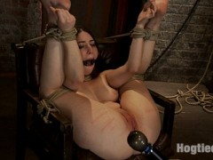 "Welcome tiny Serena Blair back to Hogtied. This 5'0 100lb sexy bombshell is as hot as they come. It turns out she is also as tough as she is cute! Bound in the ultimate ""fuck me"" position Serena finds her self helpless,  all three of her holes spread open and available.  We start with some foot tickling and caning.  We make her laugh then we make her scream, the two emotions battle to see which one drives her crazy first.  Then we move the cane down her sexy legs and leave some ""remember me later"" marks.Then we attack her pussy. We start with a vibrator and we make her cum.  She cums hard and thinks the scene is over but we are nowhere near the stopping point.  We finger her tight pussy and make her cum and squirt in a brutal orgasm that wrecks her very soul.  Serena now expects the scene to be over, but she is terribly mistaken.  We don't let up, we take turns making her cum, first with the vibrator, then the fingers.  Serena is begging, pleading, doing anything she can, but we do not stop, and she cannot stop herself from cumming.  What we leave in the chair is barely human, Serena is wrecked and wrecked hard!video"