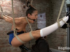 "Lyla cums back for more in her intense no holds live show.She first starts bound in a strappado ball. Claire goes after her with uncomfortable caning games followed by a full suspension. When Lyla is in the air, she is routinely refused orgasms when brought to the edge and taken for ""walks"" with her nipple clamps in a very painful fashion.Second, Lyla is bound over the wood arch in an open spread eagle back bend. Lyla wears the biggest spider gag in our arsenal and endures cruel twine bondage on her nipples, breast bondage, and relentless orgasms from a dick on a stick with a vibrator attached, tied to her cunt.Finally, its our princess's birthday. Lyla is bound in an extreme forward bend position and made to sing happy birthday to herself while Claire rips a zipper off her tender labia. Happy Birthday indeed!video"