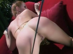 Chloe and Skye Blue are still in for a session of intense outdoor lezdom in this movie. Skye Blue is the fierce dominatrix and makes her slave Chloe take all of her clothes off. She makes bend over and starts striking her ass with a stick and hits her hard.video