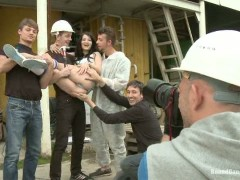 The Perfect Picture - Tiny Russian Girl Ganbanged, Two Dicks in Ass-Russian photo student hunting for the perfect picture finds herself in an industrial area where she is bound and gangbanged by 5 laborers.video