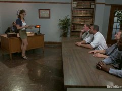 Nerdy Grad Student gets Gang Banged by her Thesis Review Committee-Nerdy grad student gangbanged by her teachers and fucked in every hole! Bound and airtight!!!video