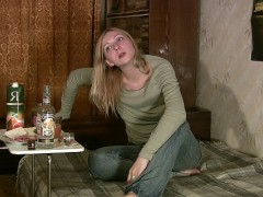 Hot blonde is drunk and frisky for sexual pleasure. She loses her mind because of vodka and starts to make funny acquisitions against the cameraman. Then she gets mad and furious and finally lays down totally wasted.video