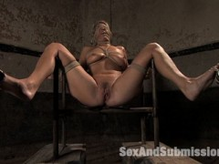 Jordan Kingsley is a tall sexy blond with a hot body and large natural breasts.  Derrick Pierce sprays her down with water while she's chained standing.  Soaking wet, she is whipped and made to cum while gagged tight.  Then some endurance bondage makes her suffer as she sucks cock and cums again mixing pleasure with physical strain.  Another challenging bondage position leaves her ass nicely exposed for spanking and hard fucking.  Finally, Jordan gets a hard cock in immobilized bondage with legs spread and eyes, mouth and neck wrapped with rope.video