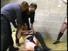 Brutal beating Two slavegirls get brutally abused by two domsvideo