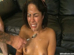 "Latina Abuse Elana is a cute faced 19 year old Cuban, definitely lacking in the titty department, but overall worth a bangin\'. She went right into ""Cock Shock\"" 10 seconds after being on her knees. It\'s like these broads are on their knees in the middle of a mosh pit. As soon her knees touched the ground Harker and Bootleg had hard angry cocks in her face. Ready to pounce on her throat like a wolf on a sheep. She ended up taking more breaks than a Mexican landscaper (they only work while you watch them). Once she finally got threw the face fucking, she got her pussy drilled. The guys took turns slamming her fish taco. In the mist of fucking her, they unleashed two big loads on her and sent her packing... Adios Puta!video"